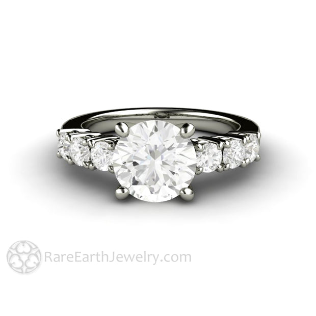 Rare Earth Jewelry Forever One Colorless Moissanite Bridal Ring 2 Carat with Accents 18K White Gold