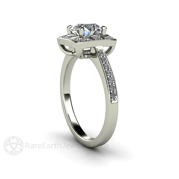 Rare Earth Jewelry Moissanite Wedding Ring Conflict Free Diamond Alternative 1ct Round Cut Forever One