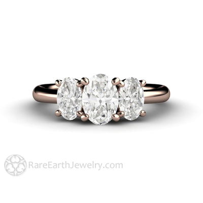 Rare Earth Jewelry Oval Moissanite 3 Stone Engagement Ring 14K Rose Gold