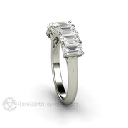 Rare Earth Jewelry Forever One Colorless Moissanite Ring Emerald 7 Stone Woven Prong Setting