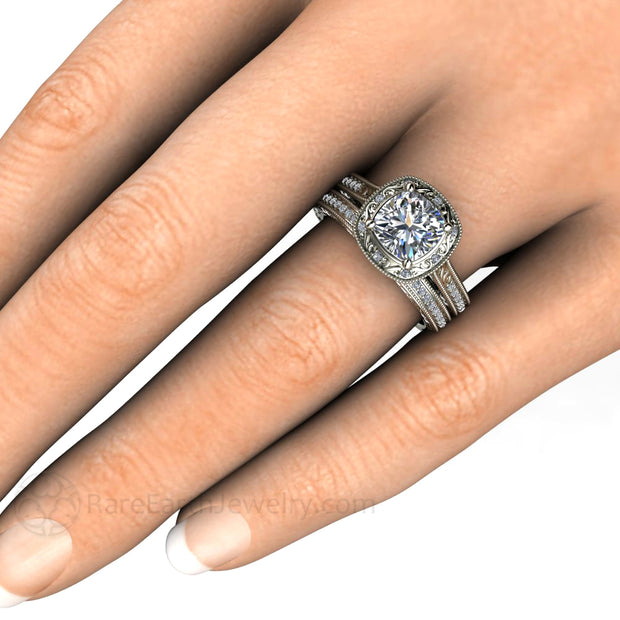 Rare Earth Jewelry Cushion Forever One Moissanite Vintage Wedding Ring Set on Finger