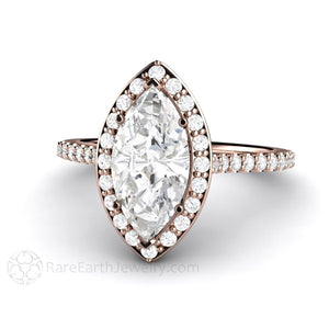 Rare Earth Jewelry Marquise Moissanite Engagement Ring Rose Gold Halo Setting