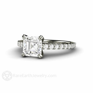 Rare Earth Jewelry Moissanite Engagement Ring Forever One Asscher Cut with Diamond Accents 14K White Gold Double Prong Setting