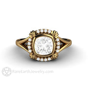 Rare Earth Jewelry 1 Carat Moissanite Wedding or Anniversary Ring Square Cushion Cut with Diamonds 18K Gold