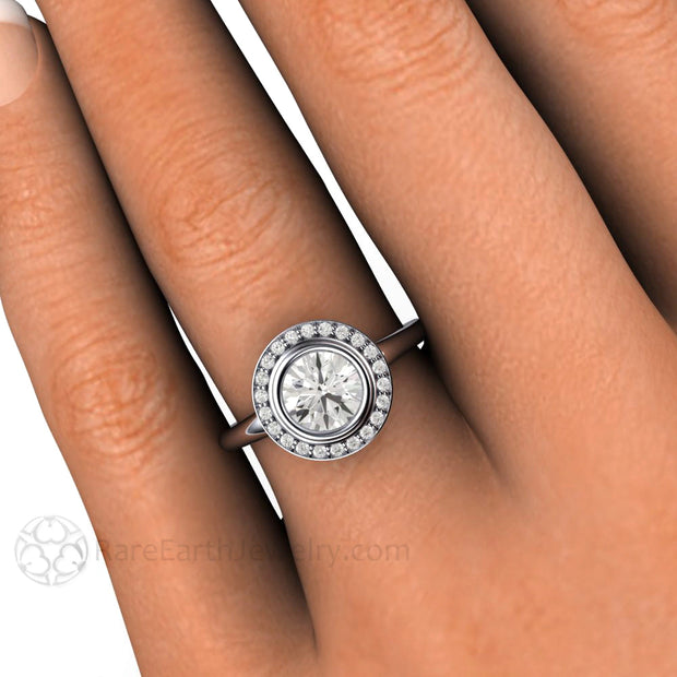Rare Earth Jewelry Bezel Moissanite Halo Ring on Finger 1ct Round Forever One