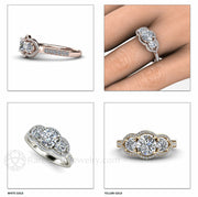 Rare Earth Jewelry Moissanite Three Stone Ring Round Cut with Diamonds 14K or 18K Gold