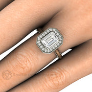 Rare Earth Jewelry Forever One Moissanite Right Hand Ring on Finger Emerald Cut with Milgrain Filigree Beaded Edge