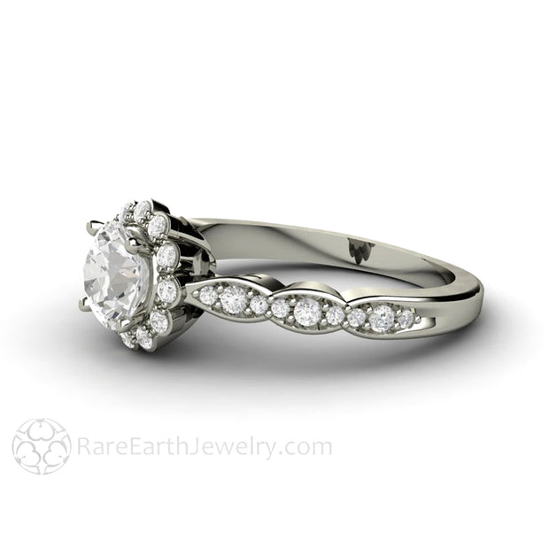 Rare Earth Jewelry Vintage Style Moissanite Bridal Ring Diamond Halo and Scalloped Band