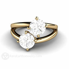 Forever One Moissanite 2 Stone Ring Round Cut 14K Yellow Gold