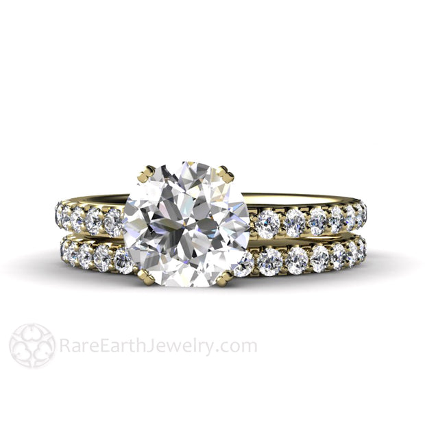 Rare Earth Jewelry Moissanite Wedding Ring Set with Diamond Accented Bridal Band 2ct Solitaire Round Engagement 14K