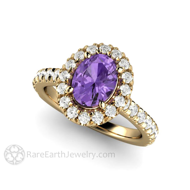Rare Earth Jewelry French Pave Diamonds and Purple Sapphire Engagement Ring 14K or 18K Gold Setting