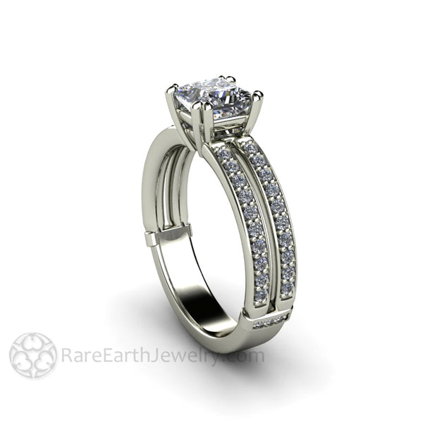 Rare Earth Jewelry GIA Certified Princess Cut Diamond Anniversary Ring Double Prong Split Band 14K White Gold