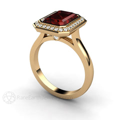 14K Garnet Wedding Ring 3ct Natural Gemstone Rare Earth Jewelry