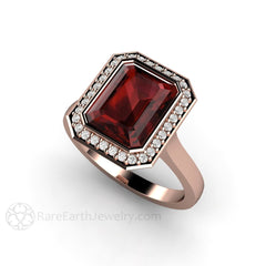 Rose Gold Emerald Garnet Ring Diamond Halo Setting Rare Earth Jewelry
