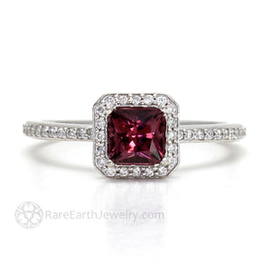 Rare Earth Jewelry Princess Cut Garnet Diamond Halo Ring 14K or 18K Gold
