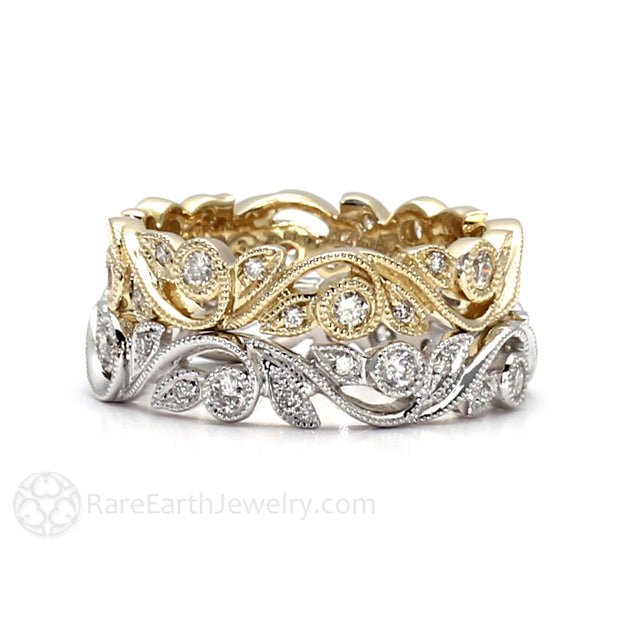 Rare Earth Jewelry Gold Eternity Stacking Ring with Milgrain Diamond Accented