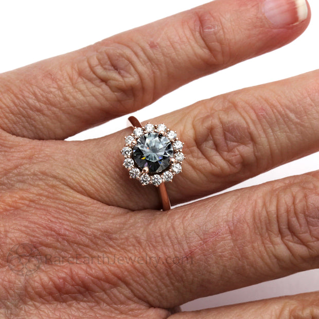 Unique Engagement Ring with Gray Moissanite Eco-Friendly Diamond Alternative by Rare Earth Jewelry