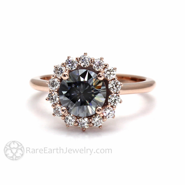 Gray Moissanite Ring Round Halo on Thin Rose Gold Band from Rare Earth Jewelry