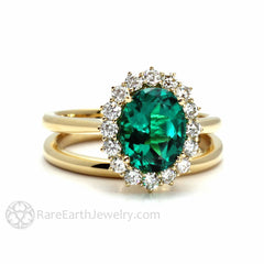 Rare Earth Jewelry Oval Emerald Bridal Set Conflict Free Diamond Halo