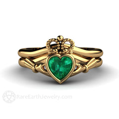 Claddagh Bridal Wedding Band Set Emerald Engagement Ring 18K Gold Bezel Rare Earth Jewelry
