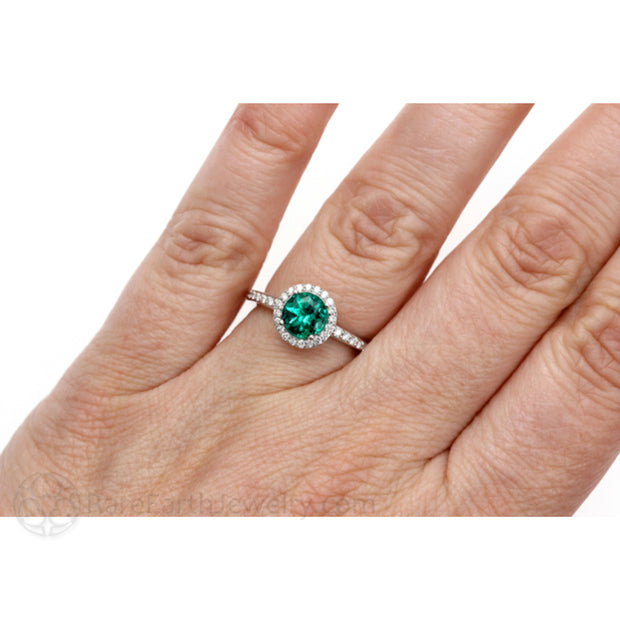 Rare Earth Jewelry Green Emerald Diamond Halo Right Hand Ring on Finger