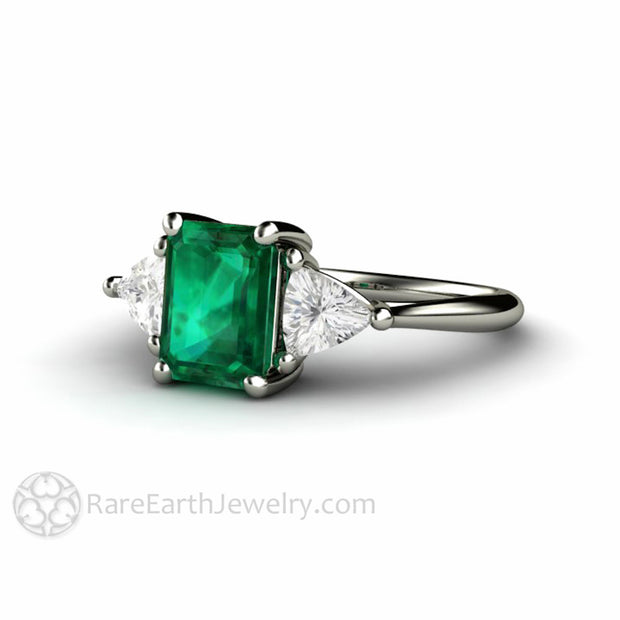 Rare Earth Jewelry Green Emerald Engagement Ring with Trillion White Sapphire Side Stones 14K Gold