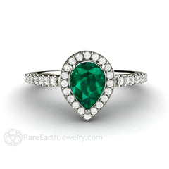 Rare Earth Jewelry Pear Shaped Emerald Ring with Diamond Halo and Accent Stones 14K Gold