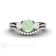 Green Moissanite Wedding Set 14K Diamond Accented Engagement and Band Rare Earth Jewelry