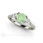 Charles & Colvard Round Green Moissanite 3 Stone Ring Rare Earth Jewelry