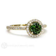 Rare Earth Jewelry Green Tourmaline Engagement or Anniversary Ring