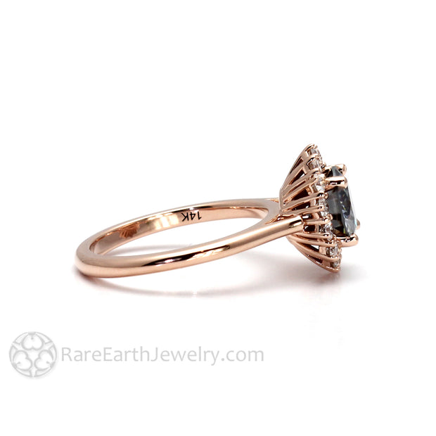 Grey Moissanite Engagment Ring Antique Style Cluster in Rose Gold by Rare Earth Jewelry