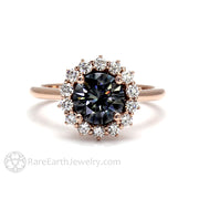 Vintage Style Gray Moissanite Engagement Ring in Rose Gold by Rare Earth Jewelry