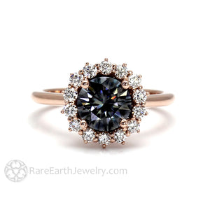 Rare Earth Jewelry Gray Moissanite Engagement Ring 1.50 Carat Round Vintage Style Diamond Halo 14K or 18K Gold