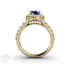Rare Earth Jewelry Halo Blue Sapphire Ring Oval Cut Gemstone Diamond Halo Accent Stones