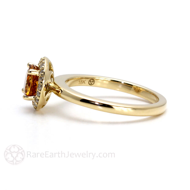 Rare Earth Jewelry Orange Citrine Halo Ring November Birthstone or Anniversary Gift 18K Gold