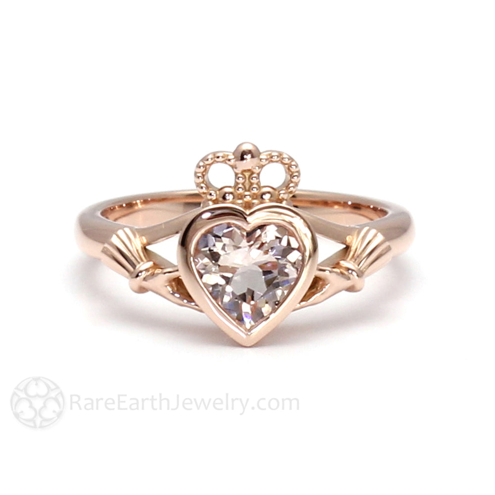Rare Earth Jewelry Morganite Ring Rose Gold Heart Claddagh Bezel Setting