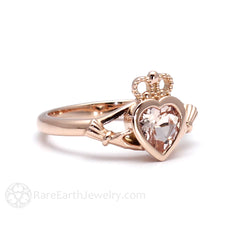 Rare Earth Jewelry Claddagh Promise or Friendship Ring Heart Morganite Center Stone 14K Gold