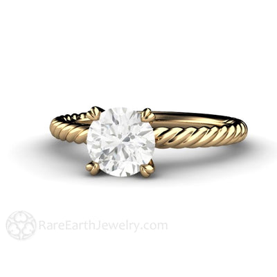 Forever One Moissanite Engagement Ring with Rope Twist Band 1 Carat Round Solitaire by Rare Earth Jewelry