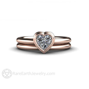 Rare Earth Jewelry Heart Solitaire Moissanite Engagement Ring and Wedding Band Forever One Rose Gold Setting
