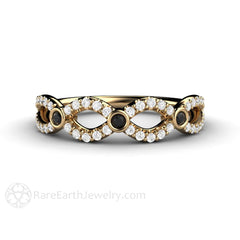 18K Gold Black and White Diamond Infinity Ring Rare Earth Jewelry