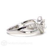 Rare Earth Jewelry Moissanite Bridal Ring White Gold Infinity Setting with Diamonds