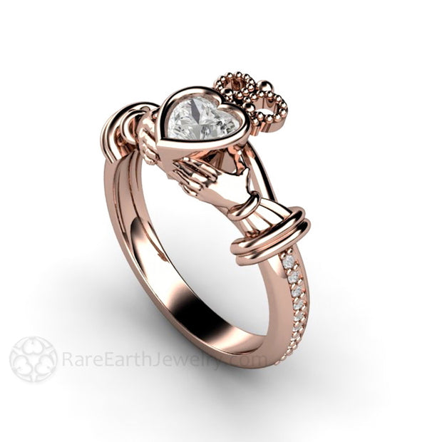 Rare Earth Jewelry Moissanite Claddagh Engagement or Wedding Ring Rose Gold Bezel Heart Setting Diamond Accents