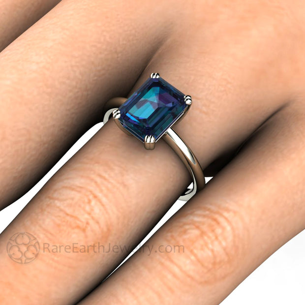 Rare Earth Jewelry June Birthstone Alexandrite Right Hand Ring on Finger Double Prong Emerald Cut Solitaire