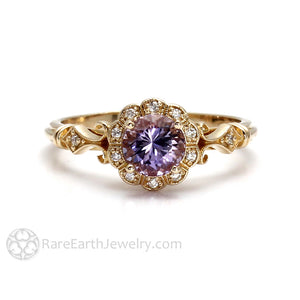 Rare Earth Jewelry Lavender Sapphire Anniversary or Right Hand Ring 14K Gold Vintage Style Setting Diamond Halo and Accents