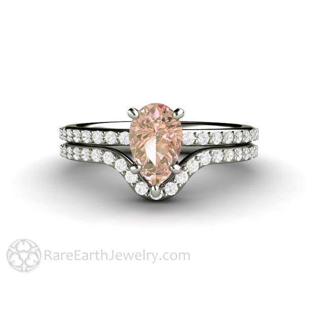 Rare Earth Jewelry Light Pastel Pink Pear Sapphire Engagement Ring with Diamond Wedding Band Bridal Set 14K or 18K Gold Setting
