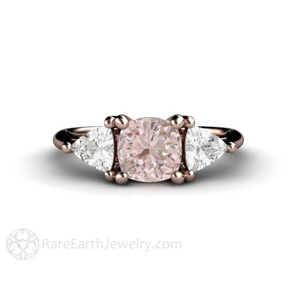 Cushion Baby Pink Sapphire Engagement Ring 3 Stone – Rare Earth ...