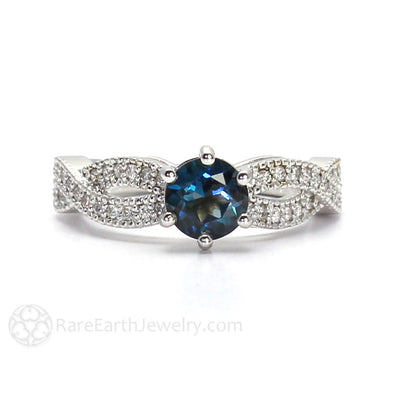 Rare Earth Jewelry London Blue Topaz Engagement Ring Infinity Style with Diamond Accents