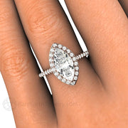 Rare Earth Jewelry Forever One Marquise Moissanite Right Hand Ring on Finger 14K or 18K Gold