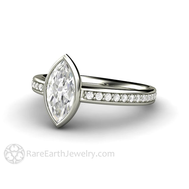Eco-Friendly Engagement Ring with Marquise Forever One Moissanite Conflict Free in 14K or 18K White Gold Solitaire by Rare Earth Jewelry