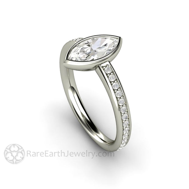 Marquise Cut Moissanite Ring Simple Solitaire Low Profile Bezel Setting by Rare Earth Jewelry